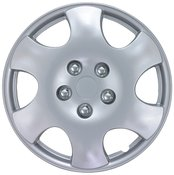 """KT ABS Plastic Aftermarket Wheel Cover 15"""" Silver 4 Piece"""