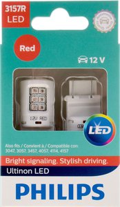 Philips Ultinon LED 3157, Red Exterior Car Light, 2 pc