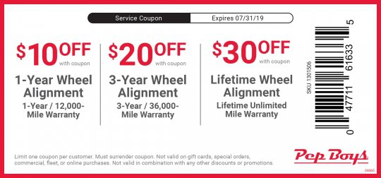Front End Alignment Coupons >> Printable Coupons Up To 30 Off Wheel Alignment Pep Boys