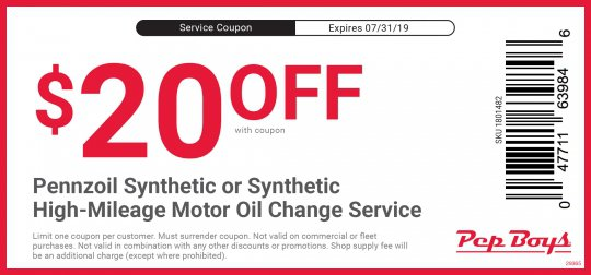 Oil Change Coupons >> Pennzoil Oil Change Coupons Pep Boys