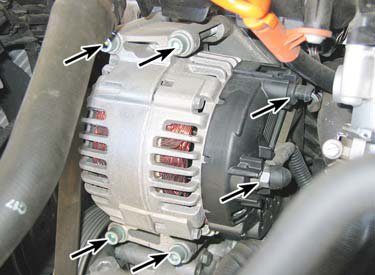 Remove The Electrical Connectors From Alternator Right Arrows Then Mounting Bolts Left Typical